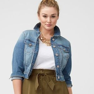 LANE BRYANT 1/2 Sleeve Denim Crop Jean Jacket [B8]